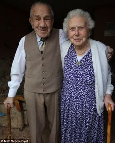"""Lionel, 99, and his wife Ellen Buxton, 100, met in March 1930, married on July 18th 1936 and have been inseparable ever since. The couple, together a total of 82 years, have not spent more than one night apart. Upon speaking of their marriage, Ellen says: """"We have never been apart really and have never wanted anyone else. We have been married happily because we have been good friends as well as husband and wife. We have always made sure we have had nice evenings out together..."""