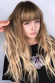 Wavy Long Hair With Blunt Bangs ❤ Want to find some face-framing haircuts with bangs and layers? Best short bob ideas for round face, medium lob styles for chubby faces, cuts for thick hair and thin locks are here! Bob Haircut With Bangs, Long Hair With Bangs, Haircuts For Long Hair, Long Wavy Hair, Girl Haircuts, Short Bob Hairstyles, Short Hair Cuts, Short Hair Styles, Hairstyles Haircuts