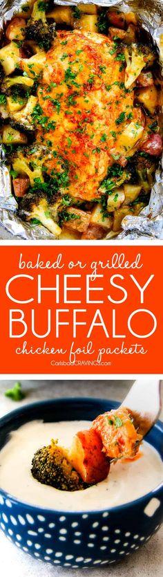 EASY Baked or Grilled Cheesy Buffalo Chicken Foil Packets bursting with juicy chicken and tender, flavorful veggies all smothered in cheddar and dipped in Ranch Crema!  these are SO addictingly delicious!!!    via @carlsbadcraving