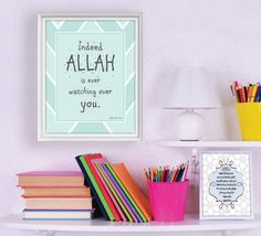 """Islamic Art - Instant Digital Download - Kids Decor - Printable Islamic Art 8x10"""" - """"Indeed Allah is ever watching over you"""" by MyButterflyGallery on Etsy"""