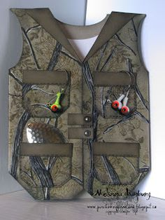 Porch Swing Creations: Camouflage Fishing Vest - tutorial to make card on website Masculine Birthday Cards, Birthday Cards For Men, Masculine Cards, Male Birthday, Boy Cards, Cute Cards, Stampin Up Anleitung, Fishing Vest, Shaped Cards