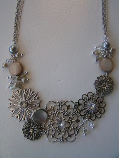 DIY upcycled necklace from earrings