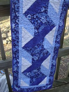 Blue Ribbon Twist quilted Table Runner by MaryMackMadeMine on Etsy, $47.00