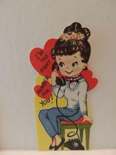 Vintage Valentine  Brunette Talking on Telephone