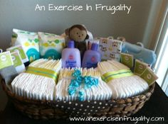 How To Make A Budget Baby Shower Basket. I think I'd like this more than a diaper cake! Gift basket Ideas #giftbasketideas #giftbaskets