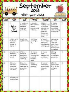 Parental  Involvement  (Homework) Calendar – September PK/K
