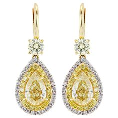 4.12ctw Natural Yellow Diamond Drop Earrings