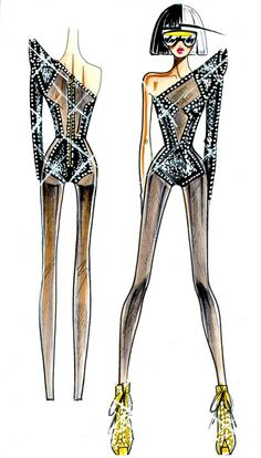 Versace Sketches | versace sketches for lady gaga tour