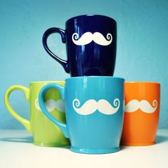 Mustache Mugs -- Oh this is much more fun than just white and black - contact paper!