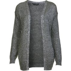 Miss Selfridge Silver Sequin Cardi ($18) ❤ liked on Polyvore featuring tops, cardigans, sweaters, outerwear, jackets, silver grey, sequin cardigan, long sequin top, long tops and gray cardigan