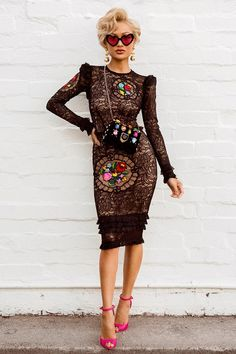 83ca1198470d Black   Colourful Flowers Long Sleeve Lace Dress