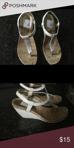 White  wedge sandals White wedge sandal w/ cork look foot bed Charter Club Shoes Sandals