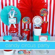 Festa Circus Azul Turquesa e vermelho