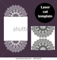 Laser cut template. Vector decorative elements for laser cutting. Wedding invitation card. Openwork lase vector illustration.