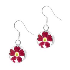 Custom designed and bespoke jewellery direct from Honour Bespoke Jewellery. Verbena, Silver Rounds, Mothers Love, Real Flowers, Bright Pink, Miniatures, Drop Earrings, Jewellery, Sterling Silver
