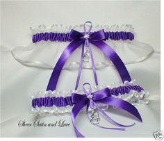 Double Heart Wedding garters  PURPLE and by SheerSatinandLace, $24.99