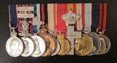 Royal Victorian Medal, (E7), silver; Royal Household Faithful Service Medal, (VR) additional 10 year bar, Jubilee 1887 clasp  1897, silver, Coronation 1902, bronze, Prussia, Order Red Eagle, Medal of the Order, 2nd type, Norway, King's Medal, with crown, Haakon, VII,  Spain, Order of Naval Merit, Silver Cross, Italy, Royal Service Medal, Vittorio Emanuel III; Portugal, Coronation Medal 1889,  Sweden, Royal Household Medal, Gustaf V, silver-gilt,  Württemberg, Medal of Merit, Wilhelm II…
