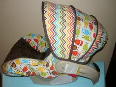 Bermuda Chevron with Owls Infant Car Seat Cover