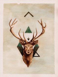 Art and Illustration by Peter Carrington Art And Illustration, Illustrations, Giraffe Illustration, Image Tatoo, Hirsch Tattoos, Stag Tattoo, Raven Tattoo, Tattoo Ink, Deer Art