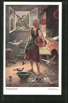 Onlineshop for old Postcards. Postcard from Myths & Tales > Tales > Cinderella: Künstler-AK Otto Kubel: Aschenbrödel, 2. Da gab der König ein Fest.... old postcard Number: 6873192. Secure purchase: unrestricted right of recall.