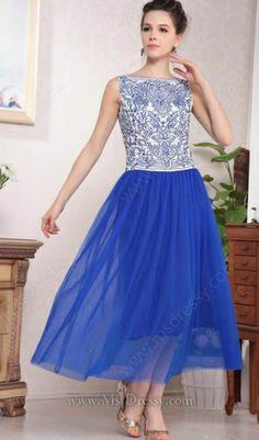 Blue and White Porcelain Sleeveless Mesh Yoke Lace Dress