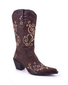 So pretty <3  Women's Star and Scroll Embroidery Brown With Creme Boot