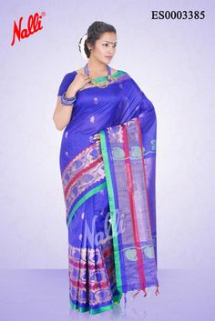 Royal Blue #KoraSilkSaree with Zari butta on body and Zari border. Includes Unstitched Blouse. Shop online http://www.nallisilks.com/store/royal-blue-kora-silk-saree