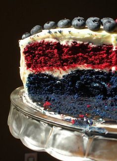 I made this blue and red velvet cake.