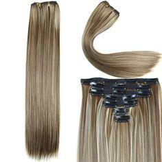 긴 스트레이트 헤어 확장 23 인치 160 그램 16 클립 7 개/대 합성 머리 확장 내열 여러 가지 빛깔의 가발