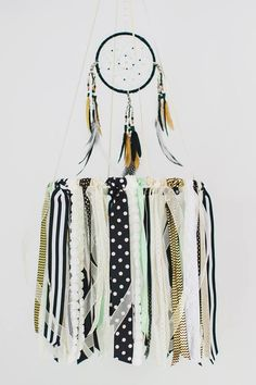 Mint, Black and White Dreamcatcher Mobile - love the tribal nursery decor!