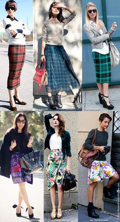 Blue is in Fashion this Year: How To Wear: Printed Skirts