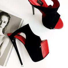 Thigh High Heels, Hot High Heels, Thick Heels, Low Heels, High Platform Shoes, Platform Mules, Black Suede, Red Black, Peep Toe Heels