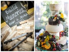 the bride opted for this cool cheese wheel cake over a traditional cake b/c she loves cheese!  a must-see yellow and grey modernly classic wedding at home | photos by miles witt boyer
