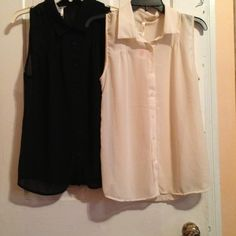 Sleeveless blouse Size large black and creme each one 30 originally 60 reduced to 20 col story Tops Blouses
