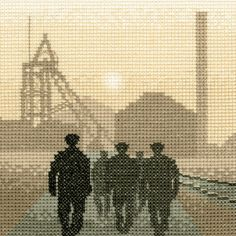 Early Shift Miners - Sepia Cross Stitch Kit                              …