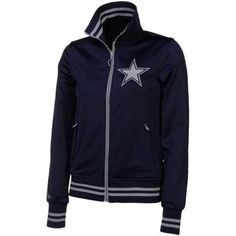 Mitchell & Ness Dallas Cowboys Ladies Navy Blue Vintage Full Zip Track Jacket