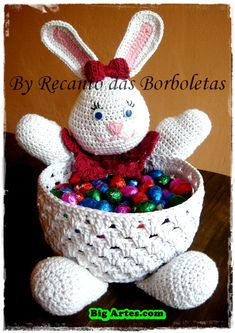 Cloth Doll Patterns by Leslie Molen Crochet Bowl, Crochet Bunny, Bunny Crafts, Easter Crafts, Doll Clothes Patterns, Doll Patterns, Easter Crochet Patterns, Holiday Crochet, Easter Baskets