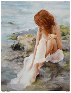 Woman by ocean rocks and tide pools by Sarah Trefny
