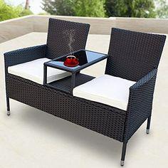 SSITG Rattan Garden Bench with Table - Tete a Tete Bench Garden Furniture