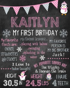 Custom Printable First Birthday Chalkboard by ChalkingItUpBoards- this is cuter than the traditional birthday boards! Doing this for Amaya's 2nd birthday.