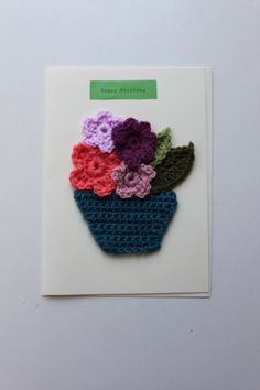 Crochet Birthday Card. Basket of Flowers. by RhymesWithCakes