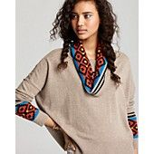 Aqua Cashmere Sweater - Tribal Jacquard Cowl Neck