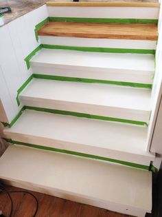 Faux wood painted stairs
