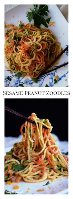 """Start the year off on a healthy and delicious note with these warm zoodles tossed with a creamy sesame peanut sauce! In a former life, a professor, whose true value would become apparent to me only much later, quipped in regards to a paper I had submitted """"If you aim high, you miss high."""" I..."""