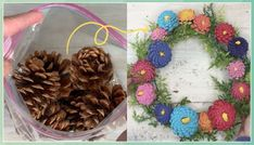 9 Amazing Pinecone Decorating Ideas To Try Th - Pine Cone Crafts for Kids #Amazing #Pinecone #Decorating #Ideas #Try #Pine #Cone #Crafts #for #Kids Pinecone Crafts Kids, Pine Cone Crafts, Crafts For Kids, Pinecone Centerpiece, Plastic Flower Pots, Pine Cone Decorations, Styrofoam Ball, Wreath Forms, Summer Flowers
