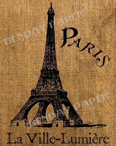 French Eiffel Tower Antique Burlap Feedsack Pillow by BenDayPaper, $1.35