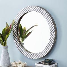 West Elm Parsons Round Mirror - Herringbone ($349) via Polyvore featuring home, home decor, mirrors, wood mirror, antique white mirror, wooden home decor, wood home decor and wood wall mirror