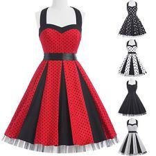 Women Vintage 50's 60's Retro Pinup Housewife Prom Party Swing Dress PLUS SIZE
