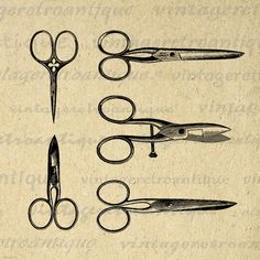 Printable Digital Scissors and Shears by VintageRetroAntique