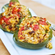Ground Beef Stuffed Green Bell Peppers with Cheese are easy to make ahead and put in the oven about an hour before you plan on having dinner.   I like to cut the peppers in half, so that more of the cheese browns while baking.